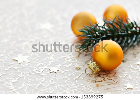 christmas baubles with fir