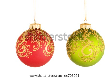 Christmas baubles with ribbon isolated on white - stock photo