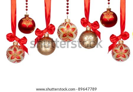Christmas baubles with ribbon isolated on white background - stock photo