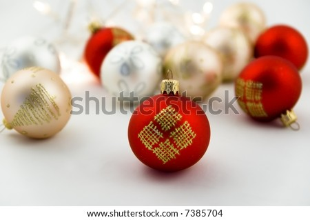 Christmas baubles with shallow depth of field