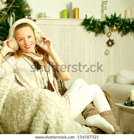 Christmas beautiful fashion woman on vintage Provence style background - stock photo