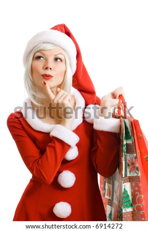 Christmas beauty Santa Claus. Shopping.