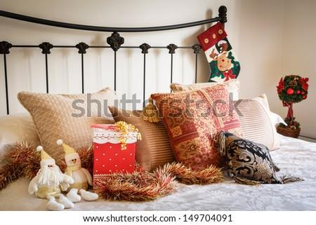 Christmas bedroom interior - stock photo