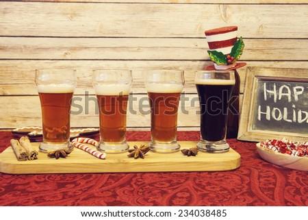 Christmas Beer Tasting - stock photo