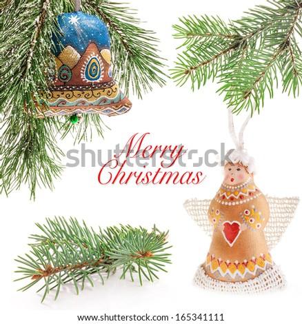 Christmas bell and golden angel, Handmade decoration, Ukrainian souvenir - stock photo
