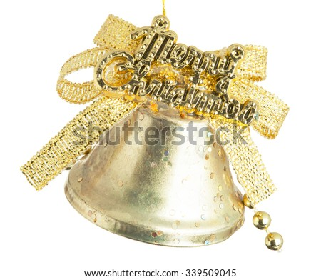 Christmas bell isolated on white background with clipping path - stock photo