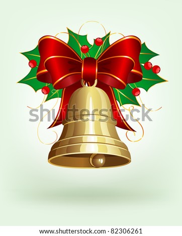 Christmas bell with holly and bow - stock photo