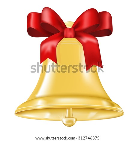 Christmas bell with red bow.  Raster version isolated on white background - stock photo