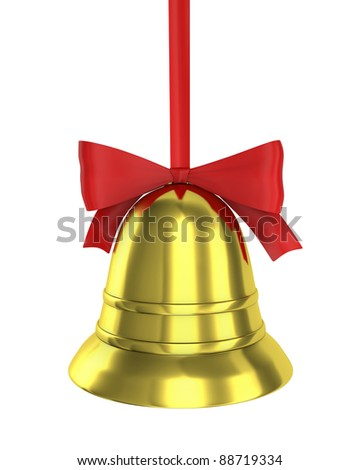 Christmas bell with red ribbon isolated on white background - stock photo