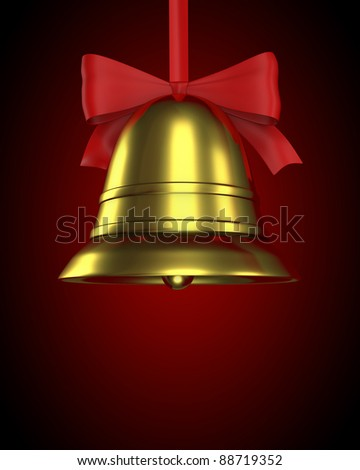Christmas bell with red ribbon on red gradient background - stock photo