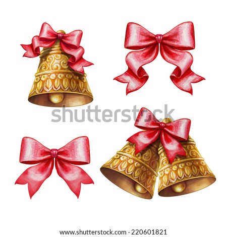 Christmas bells and bows clip-art set isolated on white background, watercolor illustration - stock photo