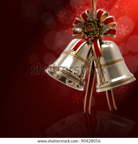 Christmas Bells Holly leaf and Ribbon - stock photo