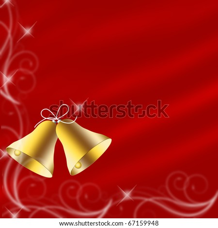 Christmas bells illustrated on a red background, christmas time