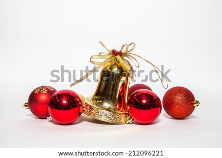 Christmas bells isolated on white background - stock photo