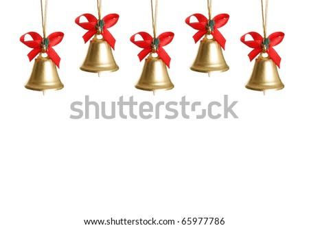 Christmas bells isolated on white background - stock photo