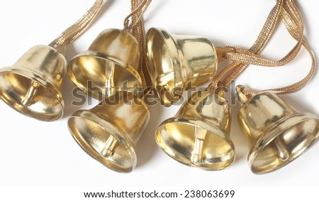 christmas bells isolated on white, Christmas bells