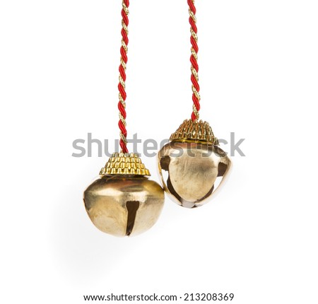 Christmas bells on a white background closeup - stock photo