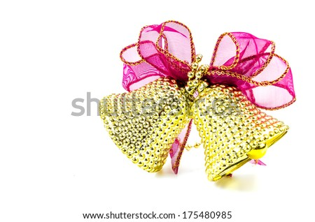Christmas bells on isolated white background using as decorate christmas tree - stock photo