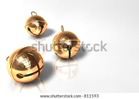 Christmas Bells on white - stock photo