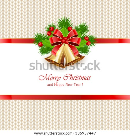 Christmas bells with bow and holly berries on white knitted pattern, illustration. - stock photo