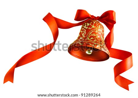 Christmas bells with red ribbon isolated on white background - stock photo