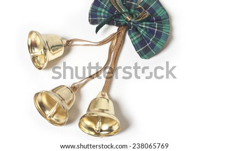 Christmas bells with ribbon, Christmas bells - stock photo