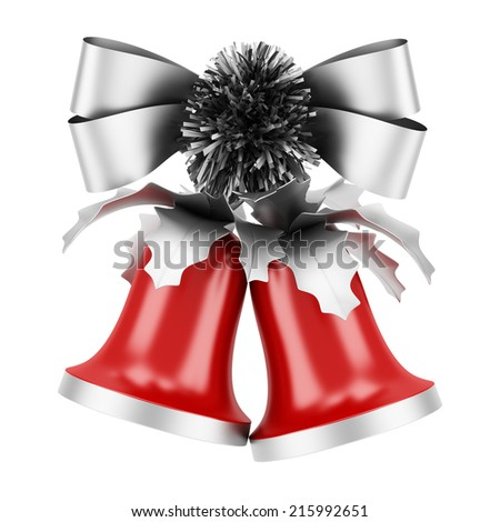 christmas bells with silver bow isolated on white background - stock photo