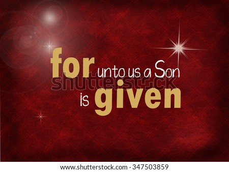 Christmas Bible verse on textured maroon background with stars and bokeh lighting - stock photo
