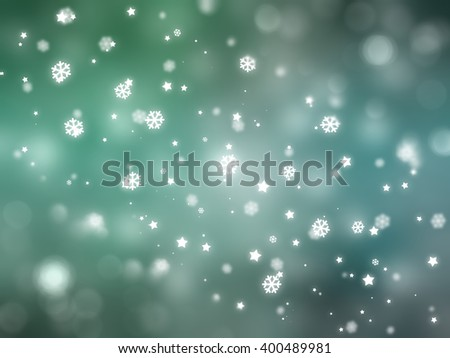 Christmas blue and green background with falling snowflakes.