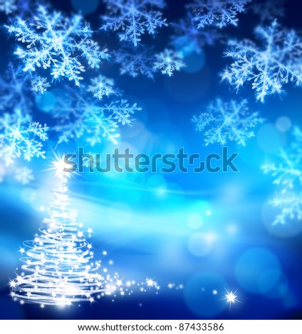christmas blue background - stock photo