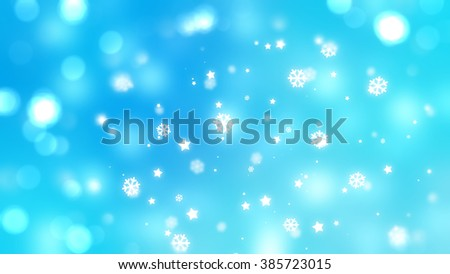 Christmas blue background. the winter background, falling snowflakes.