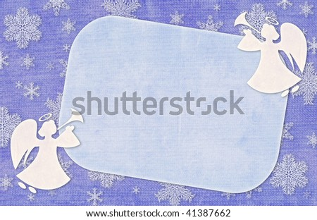 Christmas blue background with angels and snowflakes - stock photo