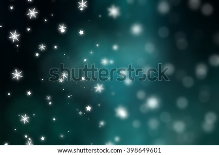 Christmas blue background with falling snowflakes.