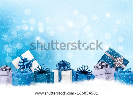 Christmas blue background with gift boxes and snowflakes. Raster version - stock photo