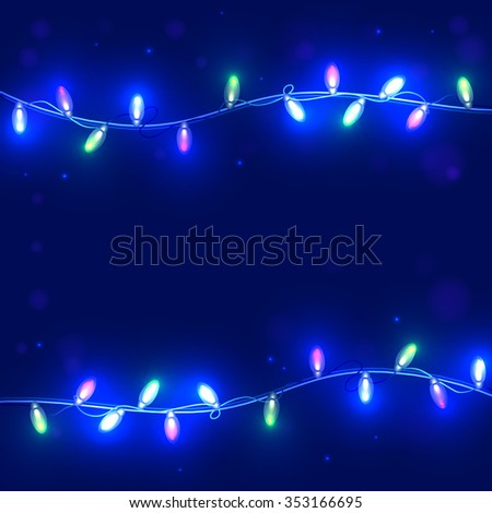 Christmas blue background with light garlands
