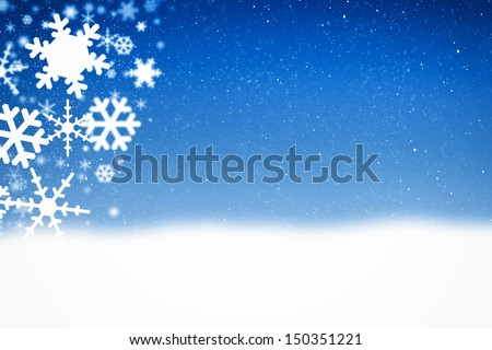Christmas blue background with snow flakes and ice crystals - stock photo