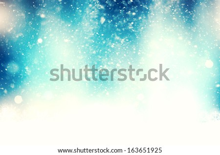 Christmas blue background with snowflakes - stock photo