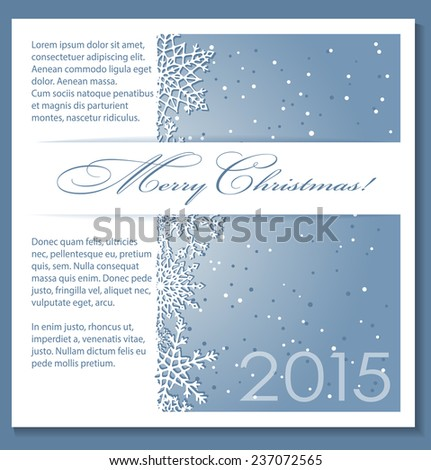 Christmas blue background with snowflakes and copy-space. Raster version of the illustration. - stock photo
