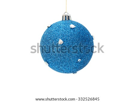 Christmas blue ball with silver hearts isolated on white background. Selective focus  - stock photo