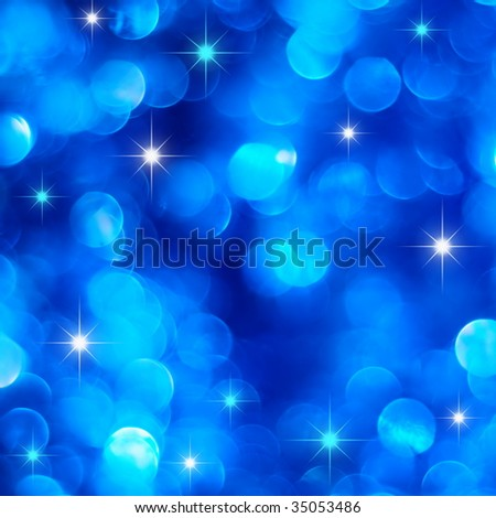 Christmas blue lights background with little stars