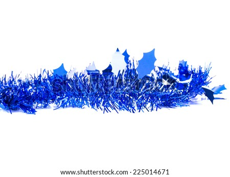 Christmas blue tinsel with stars. Isolated on a white background. - stock photo