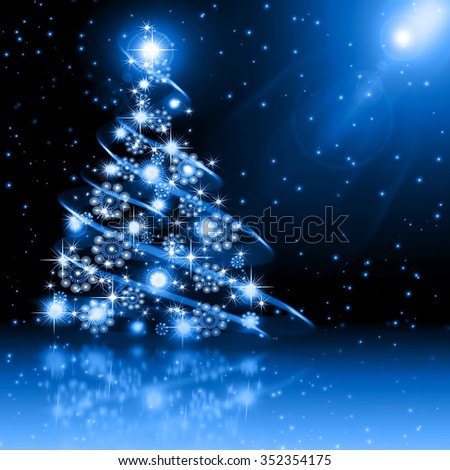 Christmas  blue tree - stock photo