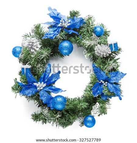 Christmas blue wreath isolated on white. - stock photo