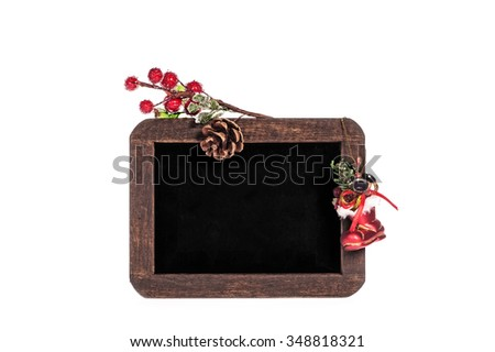Christmas board with cookies, isolated on white background - stock photo