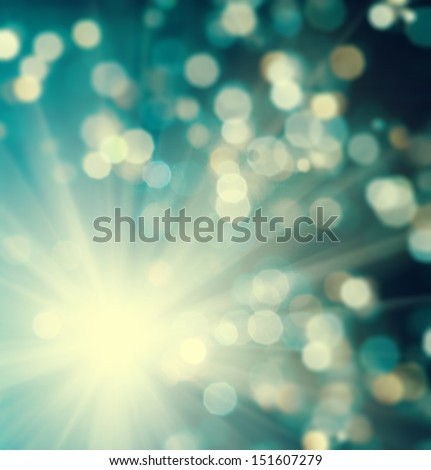 christmas bokeh lights background with star light - stock photo