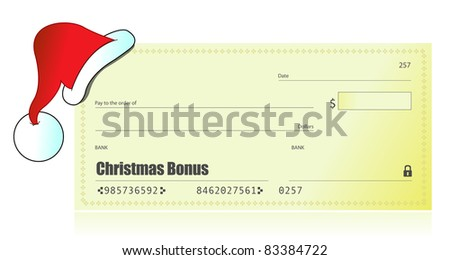 Christmas bonus check illustration design