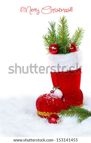 Christmas boots on white background - stock photo