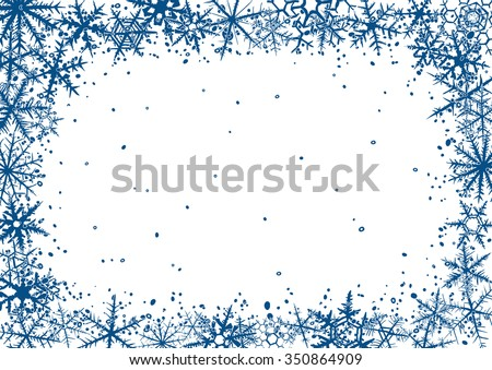 Christmas border background with various hand-drawn snowflakes. Raster version. - stock photo