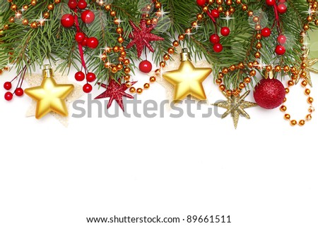Christmas border - decoration isolated on white - stock photo