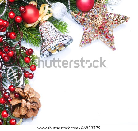 Christmas border design over white - stock photo